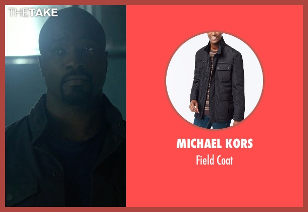 Michael Kors black coat from Marvel's Luke Cage seen with Luke Cage (Mike Colter)