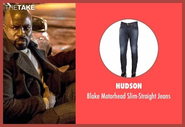 Hudson blue jeans from Marvel's Luke Cage seen with Luke Cage (Mike Colter)