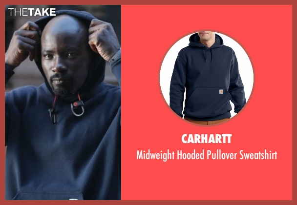 Carhartt blue sweatshirt from Marvel's Luke Cage seen with Luke Cage (Mike Colter)