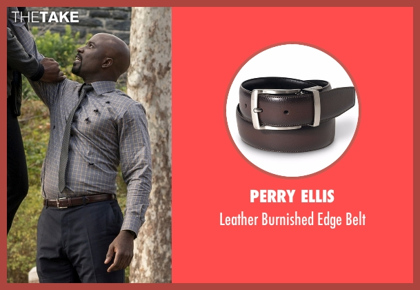 Perry Ellis brown belt from Marvel's Luke Cage seen with Luke Cage (Mike Colter)