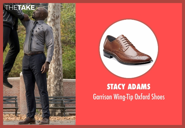 Stacy Adams brown shoes from Marvel's Luke Cage seen with Luke Cage (Mike Colter)