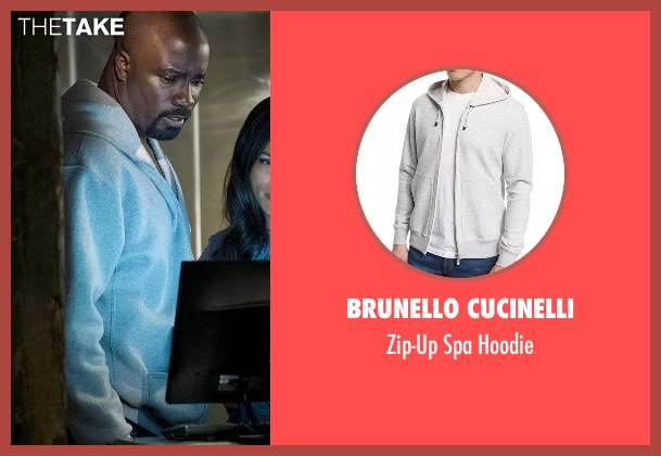 Brunello Cucinelli gray hoodie from Marvel's Luke Cage seen with Luke Cage (Mike Colter)