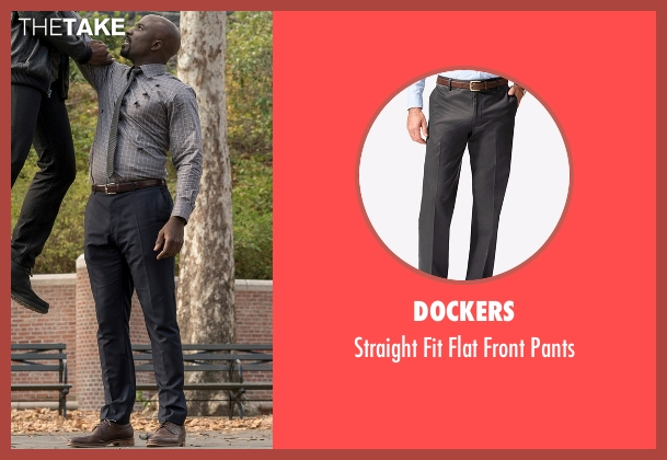 Dockers gray pants from Marvel's Luke Cage seen with Luke Cage (Mike Colter)