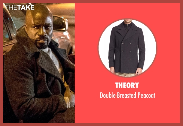 Theory gray peacoat from Marvel's Luke Cage seen with Luke Cage (Mike Colter)