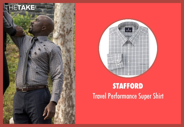 Stafford gray shirt from Marvel's Luke Cage seen with Luke Cage (Mike Colter)
