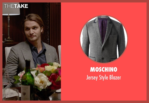 Moschino gray blazer from Fifty Shades of Grey seen with Luke Grimes (Elliot Grey)