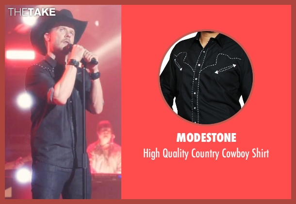 Modestone black shirt from Nashville seen with Luke Wheeler (Will Chase)