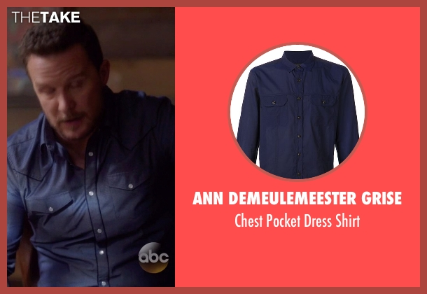 Ann Demeulemeester Grise blue shirt from Nashville seen with Luke Wheeler (Will Chase)