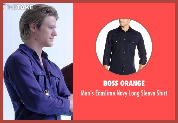 Boss Orange blue shirt from MacGyver seen with MacGyver (Lucas Till)