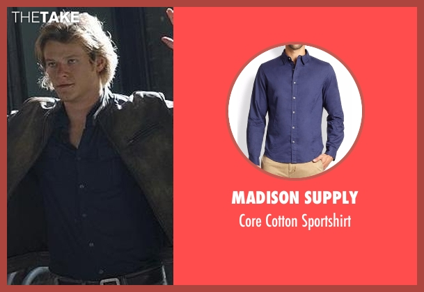 Madison Supply blue sportshirt from MacGyver seen with MacGyver (Lucas Till)