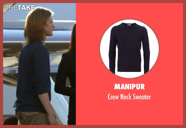 Manipur blue sweater from MacGyver seen with MacGyver (Lucas Till)