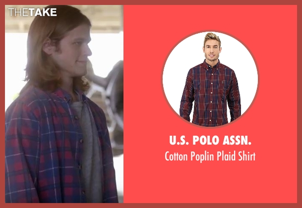 U.S. Polo Assn. red shirt from MacGyver seen with MacGyver (Lucas Till)