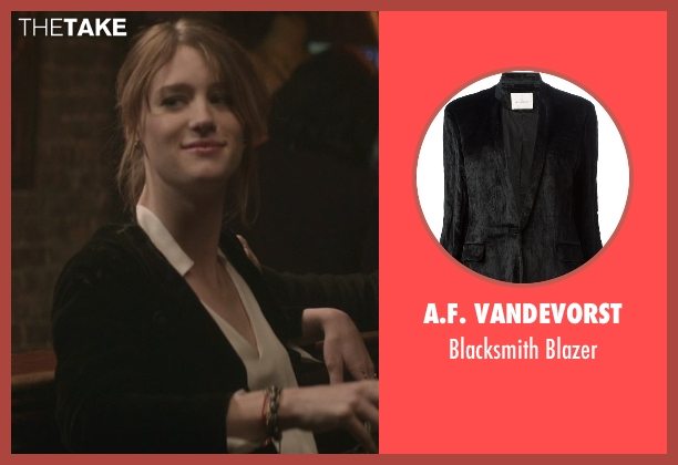 A.F. Vandevorst black blazer from That Awkward Moment seen with Mackenzie Davis (Chelsea)
