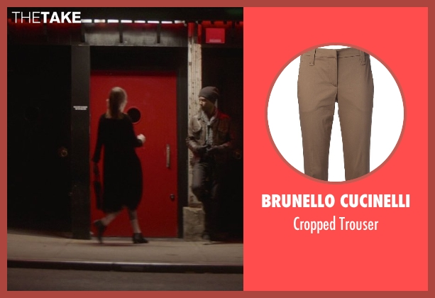 Brunello Cucinelli brown trouser from That Awkward Moment seen with Mackenzie Davis (Chelsea)