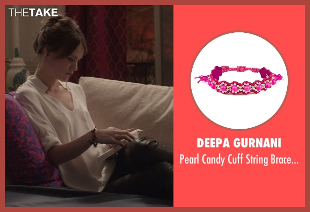 Deepa Gurnani red bracelet from That Awkward Moment seen with Mackenzie Davis (Chelsea)