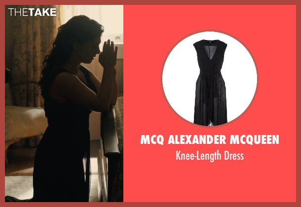 McQ Alexander McQueen black dress from Unbroken seen with Maddalena Ischiale (Louise Zamperini)