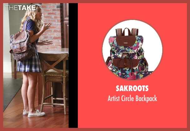 Sakroots purple backpack from Nashville seen with Maddie Conrad (Lennon Stella)