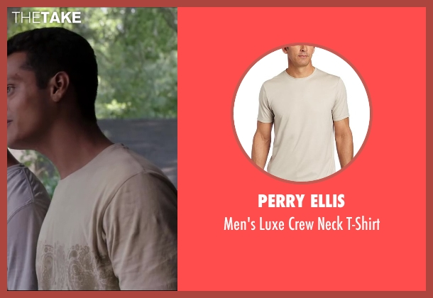 Perry Ellis beige t-shirt from Million Dollar Arm seen with Madhur Mittal (Dinesh)