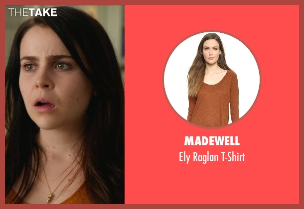 Madewell orange t-shirt from The DUFF seen with Mae Whitman (Bianca)