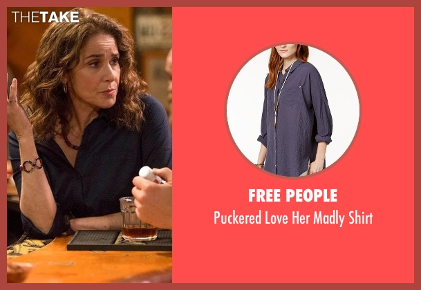 Free People blue shirt from The Ranch seen with Maggie Bennett (Debra Winger)