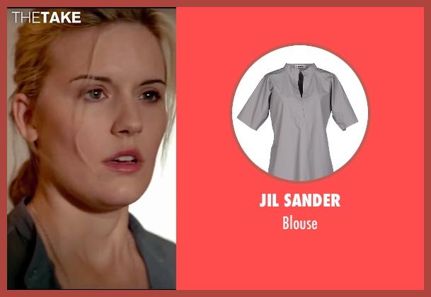 Jil Sander gray blouse from Taken 3 seen with Maggie Grace (Kim)