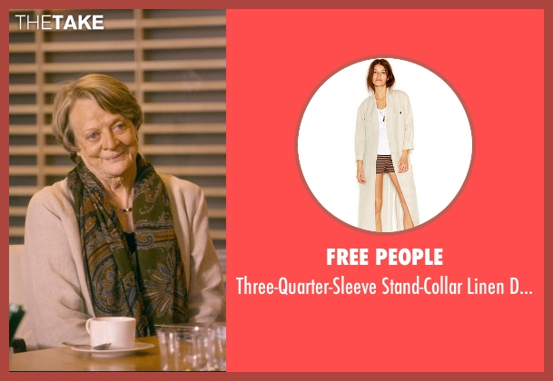 Free People beige coat from The Second Best Exotic Marigold Hotel seen with Maggie Smith (Muriel Donnelly)