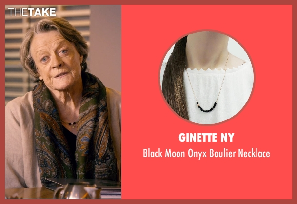 Ginette NY black necklace from The Second Best Exotic Marigold Hotel seen with Maggie Smith (Muriel Donnelly)