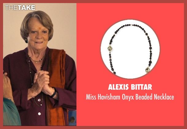 Alexis Bittar black necklace from The Second Best Exotic Marigold Hotel seen with Maggie Smith (Muriel Donnelly)