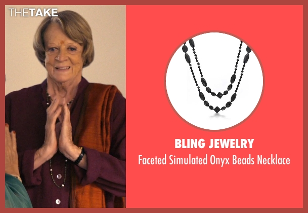 Bling Jewelry black necklace from The Second Best Exotic Marigold Hotel seen with Maggie Smith (Muriel Donnelly)