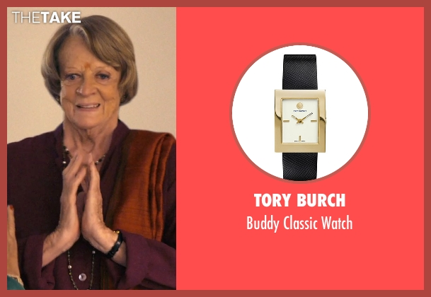 Tory Burch black watch from The Second Best Exotic Marigold Hotel seen with Maggie Smith (Muriel Donnelly)