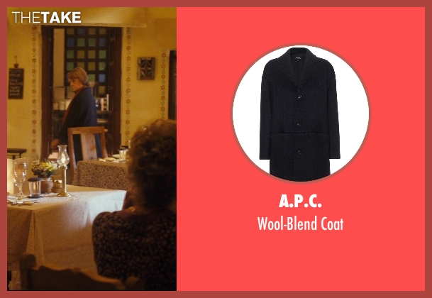 A.P.C. blue coat from The Second Best Exotic Marigold Hotel seen with Maggie Smith (Muriel Donnelly)
