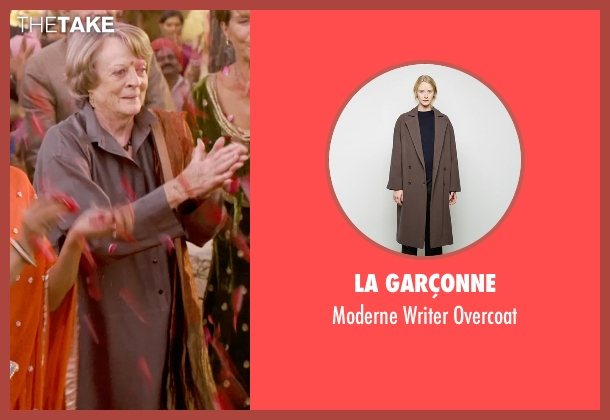 La Garçonne brown overcoat from The Second Best Exotic Marigold Hotel seen with Maggie Smith (Muriel Donnelly)