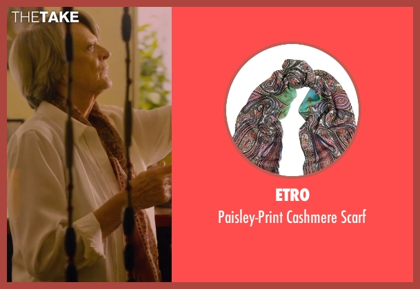 Etro brown scarf from The Second Best Exotic Marigold Hotel seen with Maggie Smith (Muriel Donnelly)