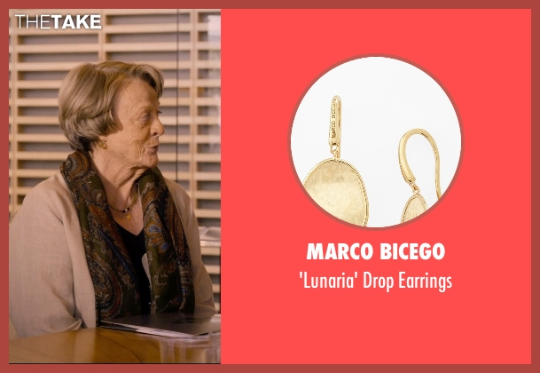 Marco Bicego gold earrings from The Second Best Exotic Marigold Hotel seen with Maggie Smith (Muriel Donnelly)
