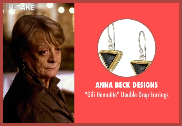 Anna Beck Designs gold earrings from The Second Best Exotic Marigold Hotel seen with Maggie Smith (Muriel Donnelly)