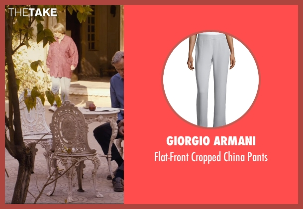 Giorgio Armani gray pants from The Second Best Exotic Marigold Hotel seen with Maggie Smith (Muriel Donnelly)
