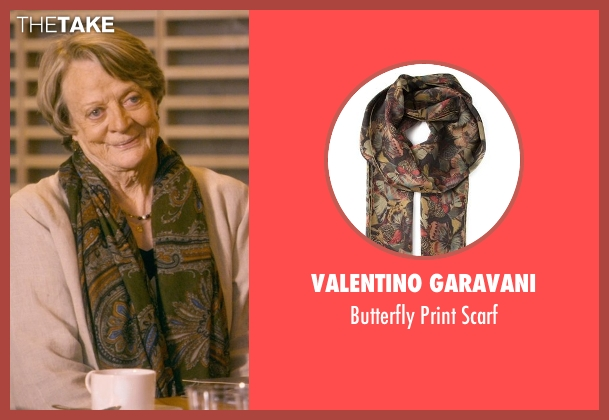 Valentino Garavani green scarf from The Second Best Exotic Marigold Hotel seen with Maggie Smith (Muriel Donnelly)