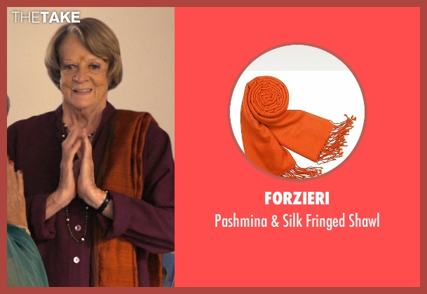 Forzieri orange shawl from The Second Best Exotic Marigold Hotel seen with Maggie Smith (Muriel Donnelly)