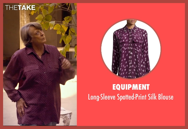 Equipment purple blouse from The Second Best Exotic Marigold Hotel seen with Maggie Smith (Muriel Donnelly)