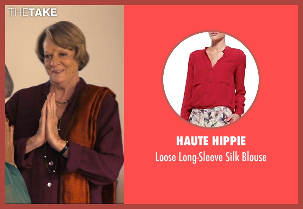 Haute Hippie red blouse from The Second Best Exotic Marigold Hotel seen with Maggie Smith (Muriel Donnelly)