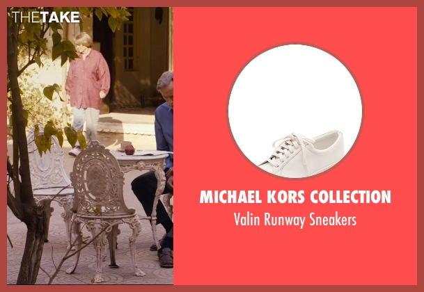 Michael Kors Collection white sneakers from The Second Best Exotic Marigold Hotel seen with Maggie Smith (Muriel Donnelly)