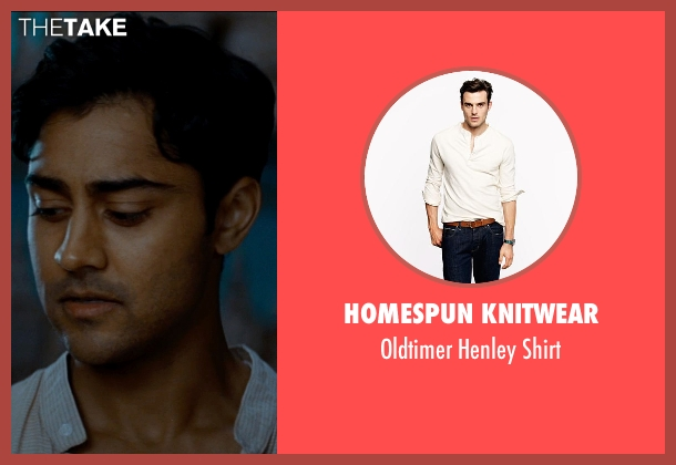 Homespun Knitwear beige shirt from The Hundred-Foot Journey seen with Manish Dayal (Hassan Haji)