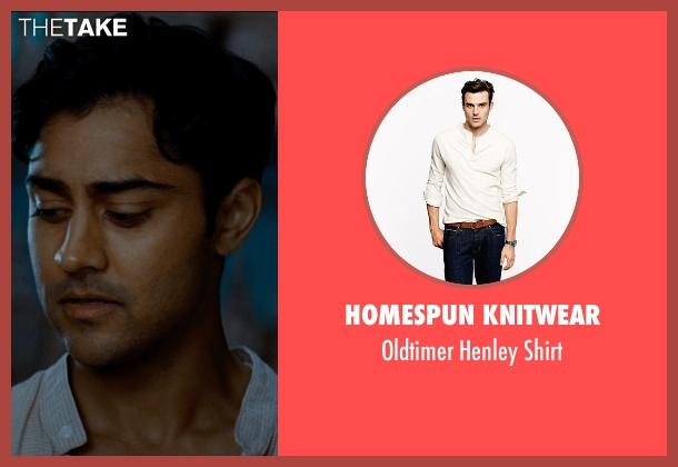 Homespun Knitwear beige shirt from The Hundred-Foot Journey seen with Manish Dayal (Hassan Haji)