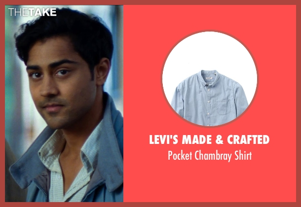 Levi's Made & Crafted blue shirt from The Hundred-Foot Journey seen with Manish Dayal (Hassan Haji)