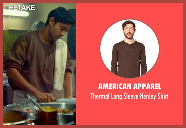 American Apparel brown shirt from The Hundred-Foot Journey seen with Manish Dayal (Hassan Haji)