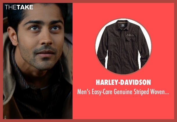 Harley-Davidson brown shirt from The Hundred-Foot Journey seen with Manish Dayal (Hassan Haji)