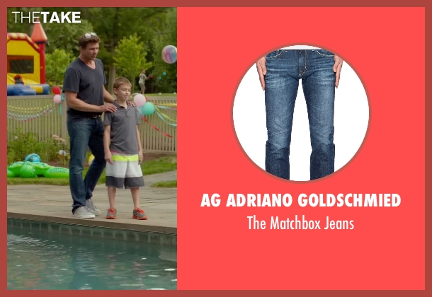 AG Adriano Goldschmied blue jeans from Sleeping with Other People seen with Marc Blucas (Unknown Character)