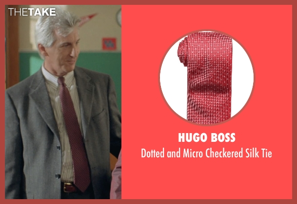 Hugo Boss red tie from Boyhood seen with Marco Perella (Professor Bill Welbrock)