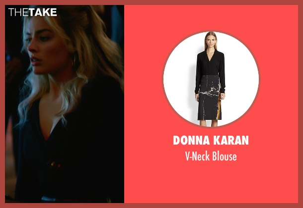 Donna Karan black blouse from Focus seen with Margot Robbie (Jess Barrett)