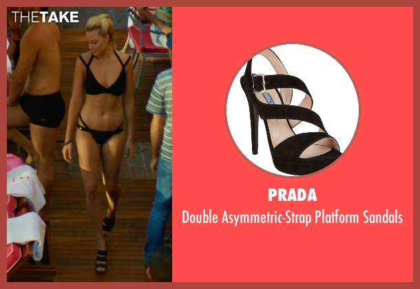 Prada black sandals from Focus seen with Margot Robbie (Jess Barrett)
